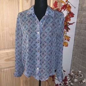 About a Girl Sheer Blue Pink Blouse Size Medium